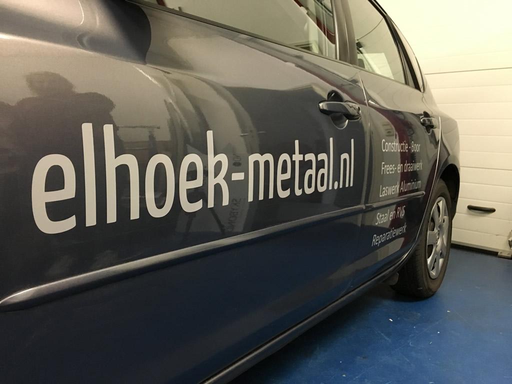 Elhoek Metaal promotie door auto belettering